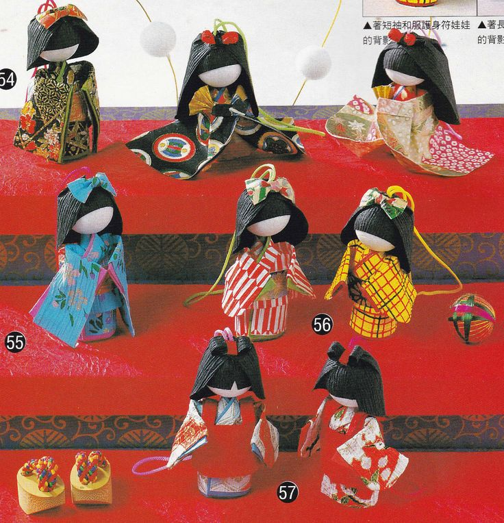 Washi Origami Paper Doll and Bookmark Japanese Craft Kimono Doll Handmade Japan Traditional Crafts TUTORIAL pdf E PATTERN in Chinese