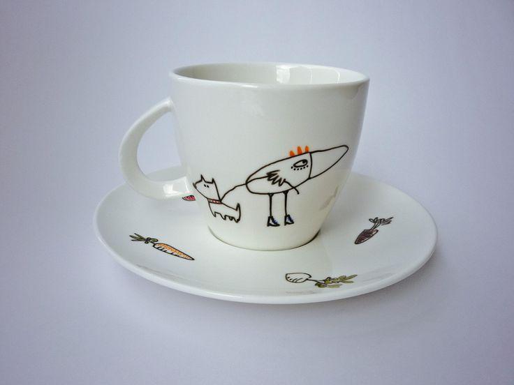 Puesto de té o café (taza 220 ml y plato 15/16 cm): $85.000. Juego de 6: $485.000, envío no incluido
