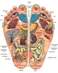 Reflexology by understanding the theory of ten invisible zones in the body, location of various reflex points in hands, feet and other parts of the body and the technique of applying pressure on these points.  http://www.guruofreflexology.com/brief-reflexology/chart-of-reflexology-reflexology-chart/