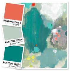 Sarah Hearts - Poppy, Silver Sage, and Deep Teal Color Palette