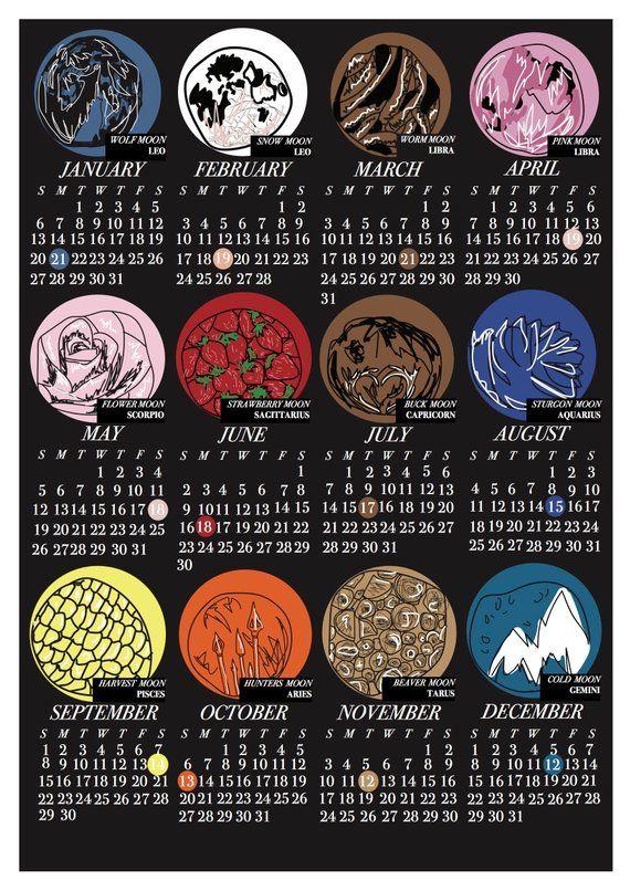 Calendario 2019 Ucl.A3 Satin 200gsm Poster Print This Is A Full Moon Calendar