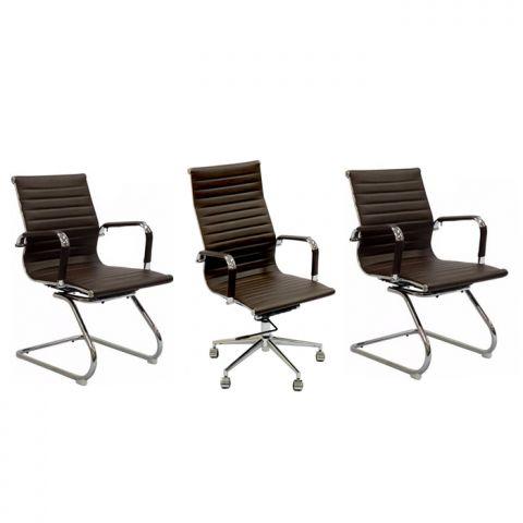 Conjunto Cadeiras Office Eames 1 Presidente 2 Auxiliares Café