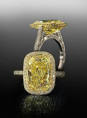 Fancy Yellow diamond in pave mounting By Bez Ambar.