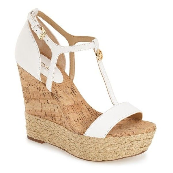 """MICHAEL Michael Kors 'Kerri' Platform Wedge, 4 3/4"""" heel ($150) ❤ liked on Polyvore featuring shoes, sandals, wedges, heels, optic white, white t strap sandals, ankle strap sandals, platform sandals, leather wedge sandals and white wedge sandals"""