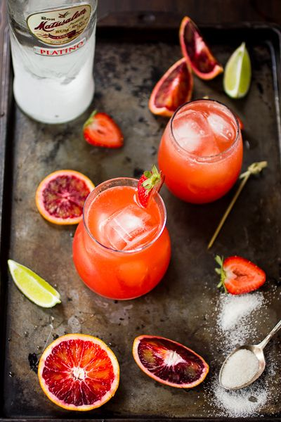 strawberry blood orange rum punch- Great summer refresher