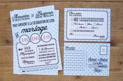 Faire-part de mariage original Dots - Ruban Collectif