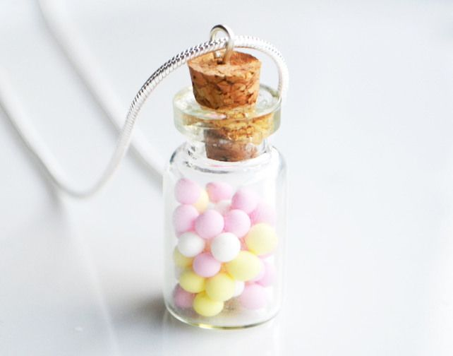 Sweet Jar Necklace, Fimo, Polymer Clay, Sweets, Candy, Miniature, Gift, Bonbons £8.00