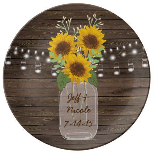 Sunflower Country Wood Mason Jar Wedding Dinner Plate