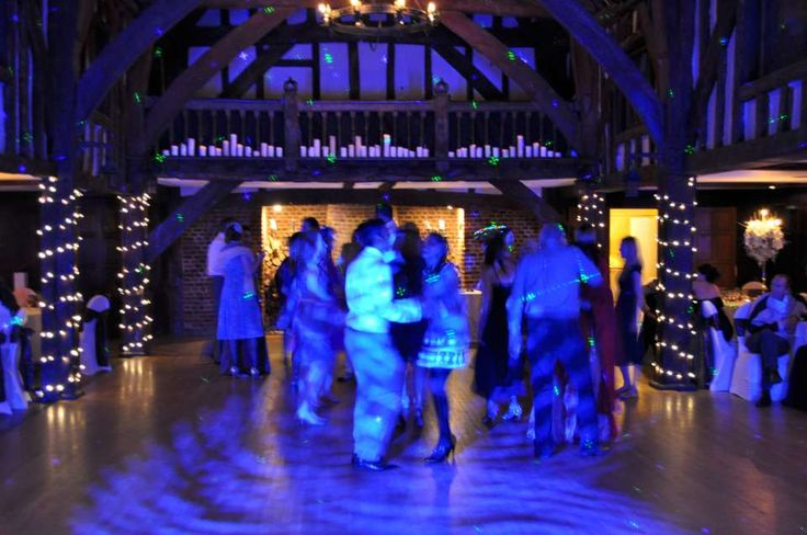 Fairy lights by night in the Tithe Barn at Great Fosters