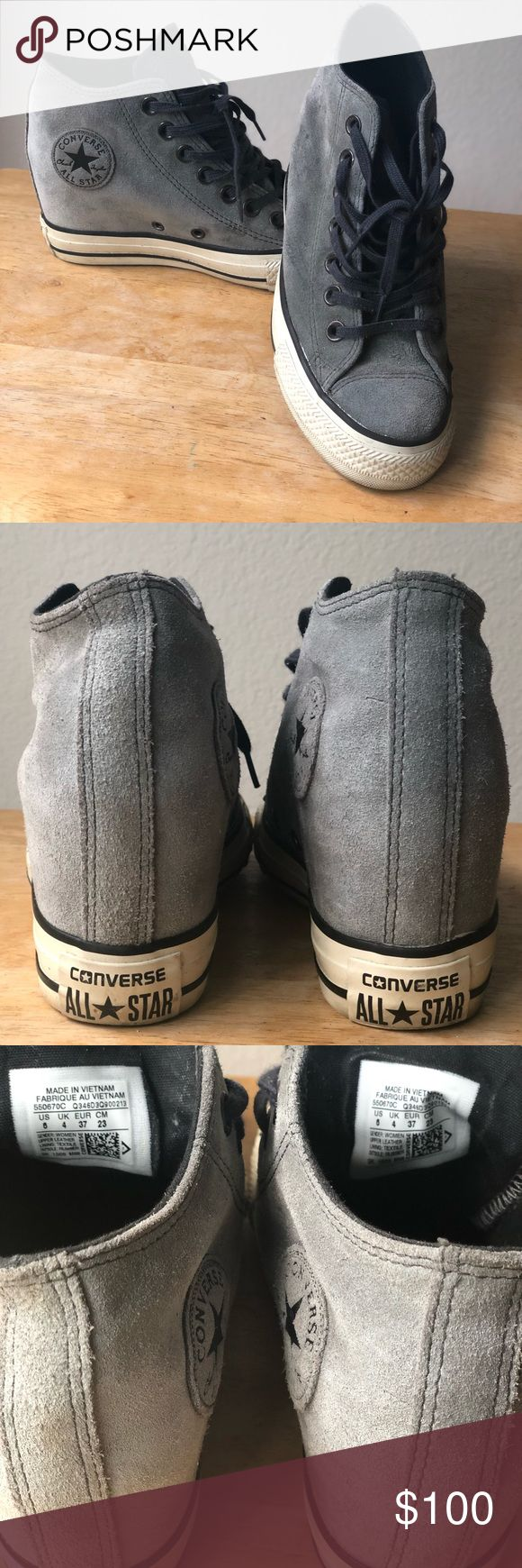 Extra pics Extra pics of gray converse wedge sneakers Shoes
