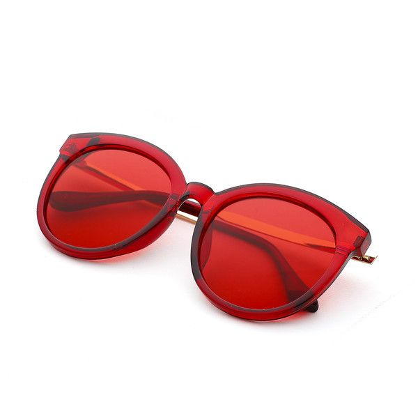 SheIn(sheinside) Exaggerated Frame & Lens Sunglasses (28 RON) ❤ liked on Polyvore featuring accessories, eyewear, sunglasses, lens sunglasses, red sunglasses, red glasses, lens glasses and red lens glasses