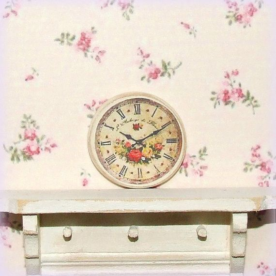 Dollhouse miniature, cream wall clock, round wooden, rose decor, country style, shabby cottage chic, 1:1:12th scale.  I have made this Cream