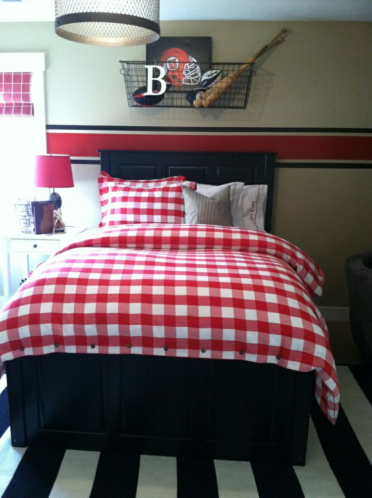 Accessorizing With Vintage Sports Paraphernalia Stripe Black And White Rug Red Bedding Design By The Goose