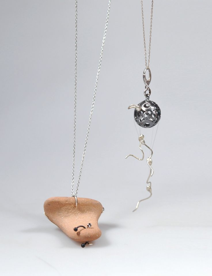 """Genesis and Speach"" necklaces by Adina Istrate - Contemporary jewelry application for Taboo Exhibition 2014"