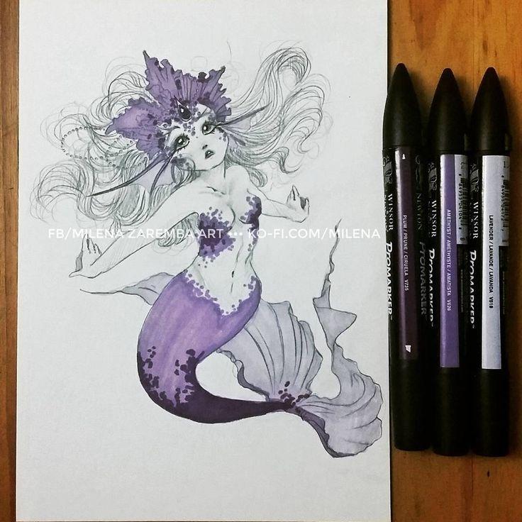 """Polubienia: 181, komentarze: 17 – Milena Zaremba (@milena.zaremba) na Instagramie: """"First mermaid for #MerMay  There are two types of anatomy: anatomy and manga anatomy, ok? Cx I…"""""""