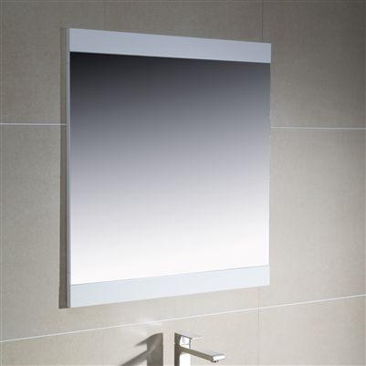 Modern bathroom mirror with wood sides.