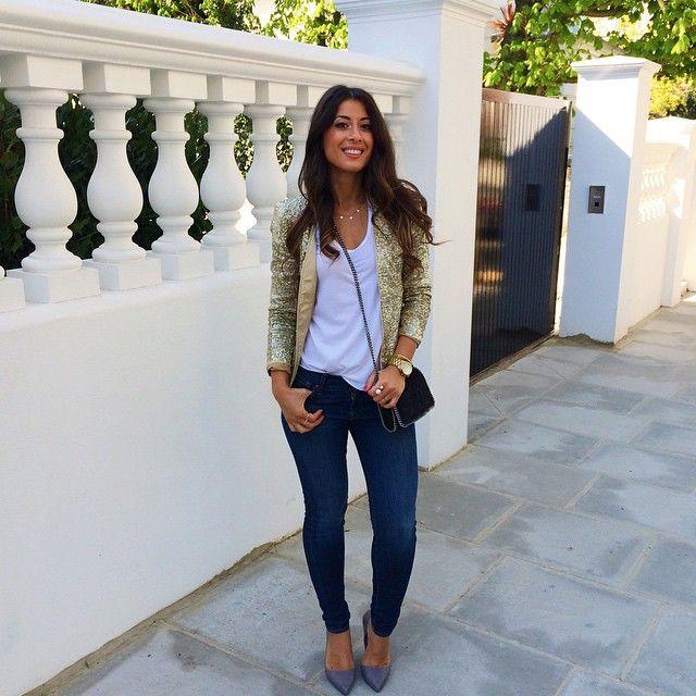 Mimi Ikonn | Sparkly blazer white top skinny jeans heels | Look
