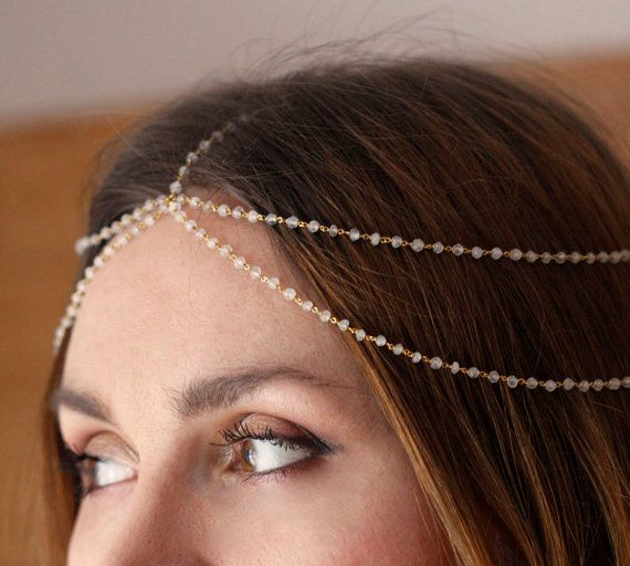 Moonstone Headpiece, Bridal Chain Headpiece, Bohemian Wedding Jewelry, Bridal Headpiece, Jacquie Aiche, FREE SHIPPING via Etsy
