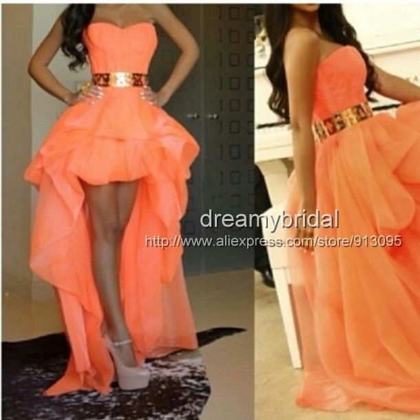 Sexy Sweetheart Gold Belt Asymmetrical Girls Party Dresses 2014 prom dresses high low Front Short Back Long coral Evening Gowns $139.99