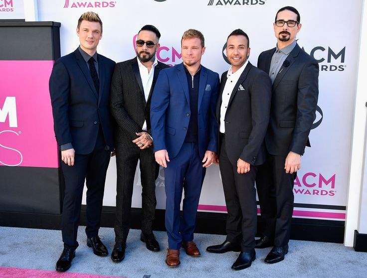 : (L-R) Recording artsits Nick Carter, AJ McLean, Brian Littrell, Howie D, and Kevin Richardson of music group Backstreet Boys attend the 52nd Academy Of Country Music Awards at Toshiba Plaza on April 2, 2017 in Las Vegas, Nevada. (Photo by Frazer Harrison/Getty Images)