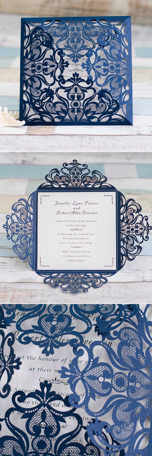 エレガントなネイビーブルーレーザーカット結婚式の招待状