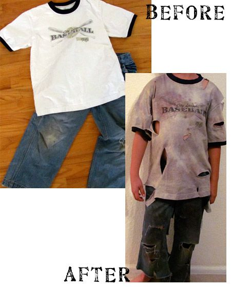 Use dye to make clothing look more zombie-ish