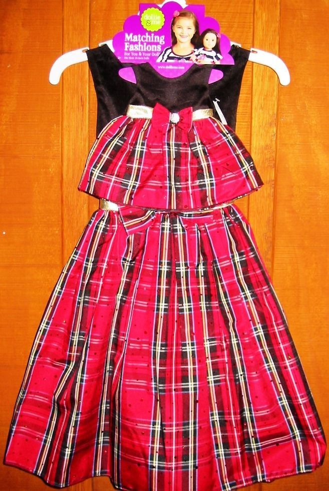 Dollie and Me Red Black Plaid Valentine's Dresses Girl Size 7 + 18 Inch Doll NWT #DollieandMe #PartyDressyHolidayValentinesDay