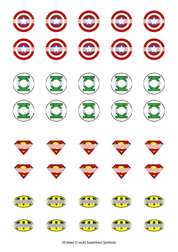 40 Superhero Symbols  25.4mm 1 inch Round  by DigitalRTPDownloads, $1.50