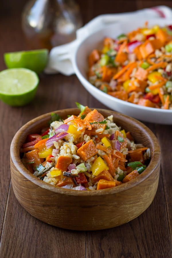 Roasted Sweet Potato Rice Salad with Chili Lime Vinaigrette- Roasted sweet potatoes, carrots, peppers, celery, onions and wild rice are tossed in a honey-chili-lime vinaigrette.