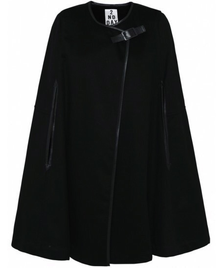 Black cape with leather details