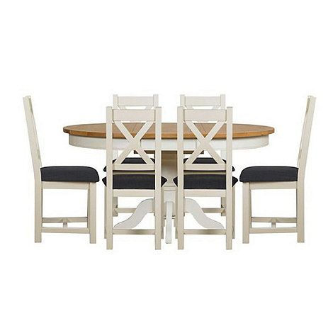 Debenhams Oak And Painted Wadebridge Round Extending Table 6 Chairs With Steel Grey