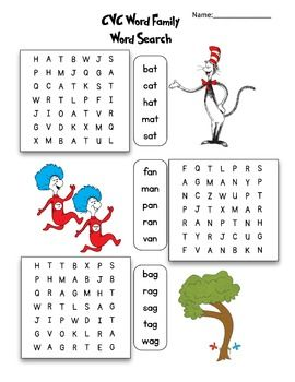 Dr. Seuss CVC Word Families Word Search