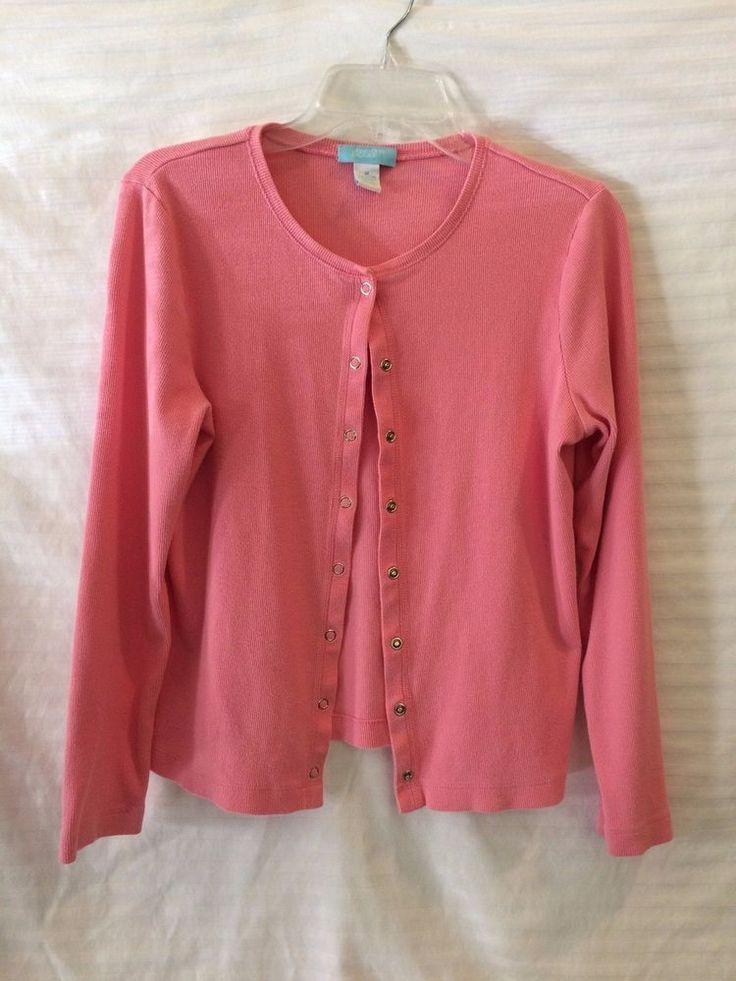 Pink Cardigan Sweater Jennifer Moore Long Sleeve Snap closure Sz M #JenniferMoore #Cardigan