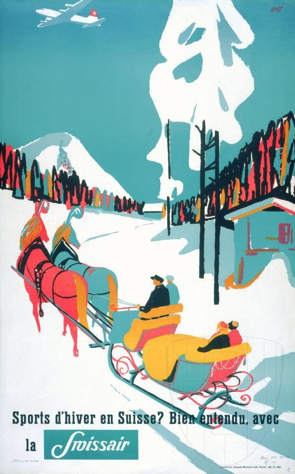 SWITZERLAND - SWISSAIR travel poster, 1950s. Winter sports  #Vintage #Travel