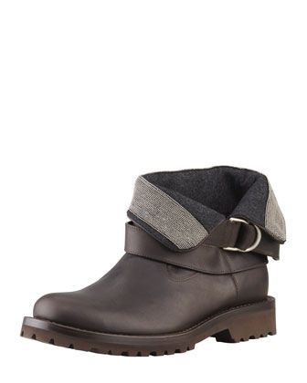 Brunello Cucinelli Fold-Over Bead-Detailed Ankle Boot, Black - Bergdorf Goodman