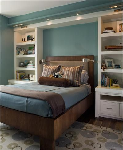 Ignore the colors. Just giving an example of a shelving surround for storage around a bed. We could put something interesting on the wall behind the headboard (cork?)
