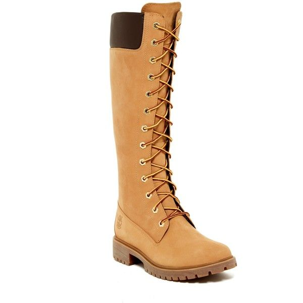 Timberland Premium Waterproof Zip Boot - Wide Width Available ($110) ❤ liked on Polyvore featuring shoes, boots, knee-high boots, wheat, knee high lace up boots, lace-up platform boots, platform shoes, lace up knee boots e platform boots