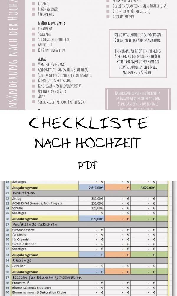 Good 18 Checkliste Nach Hochzeit Pdf Wedding Periodic Table Journal