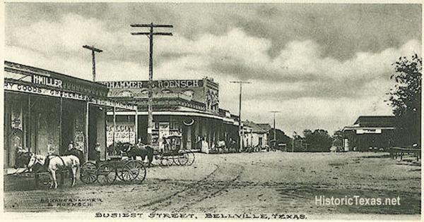Busiest Street in Bellville, Texas 1908