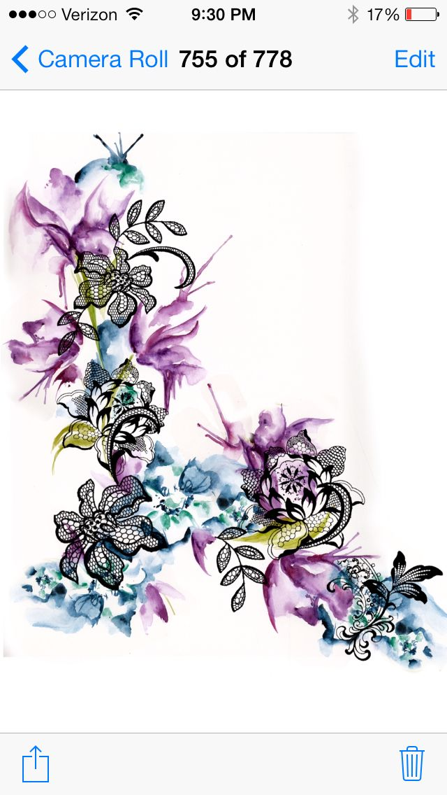 Lace and watercolor tattoo  would like this with the middle bit upwards and the sides turned up instead of down