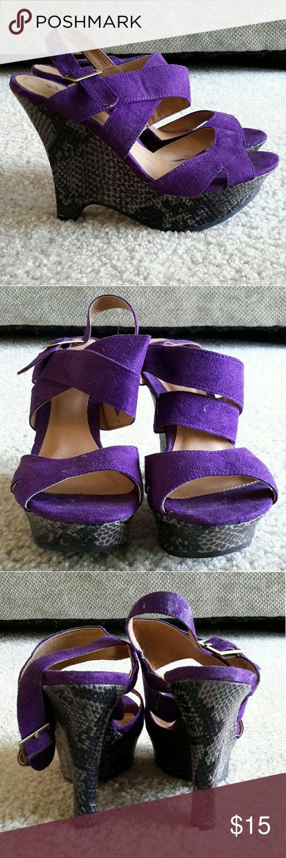Wedges Purple with Black & Greys Suede Snakeskin Wedge Qupid Shoes Wedges