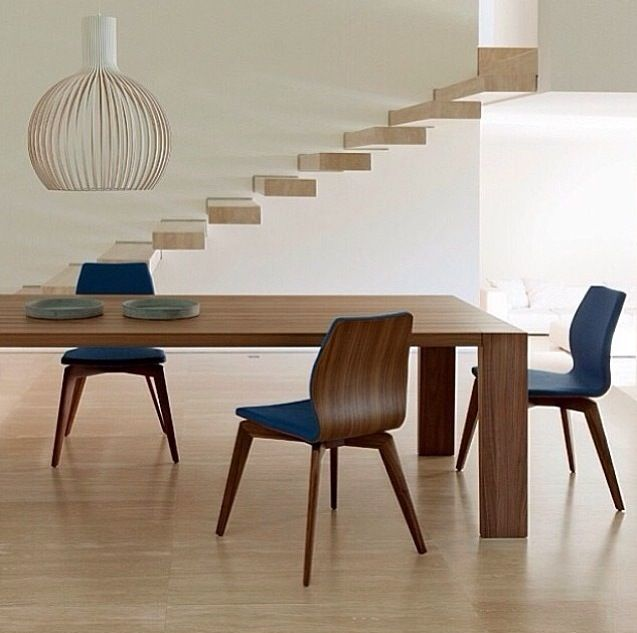 Baobab Tables Design O Moon Round And Rectangular With Flared Legs Tops In Solid Walnut Slats Made Porada Italy