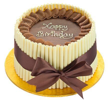 Patisserie Valerie - Special Occasion Cakes - White Cigarette Celebration Cake, Layers of chocolate sponge and Belgian chocolate cream finished with white chocolate 'cigarettes'.