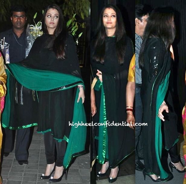 The suit (Nachiket Barve?) may be bit of a change from the volume and embellishment Aishwarya usually favors but the styling has become bit of a snoozefest.