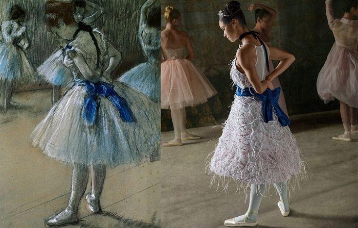 Балерина с полотна Эдгара Дега и американская балерина Мисти Коупленд.