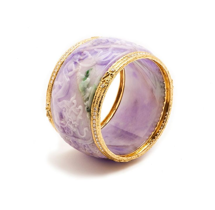 Carved Lavender Jade & Diamond Bangle