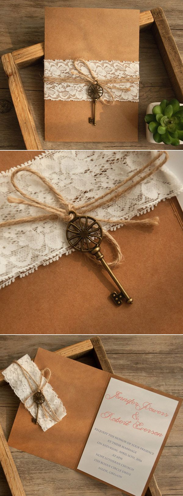 vintage lace and burlap wedding invitations for country rustic wedding ideas with a touch of peach color