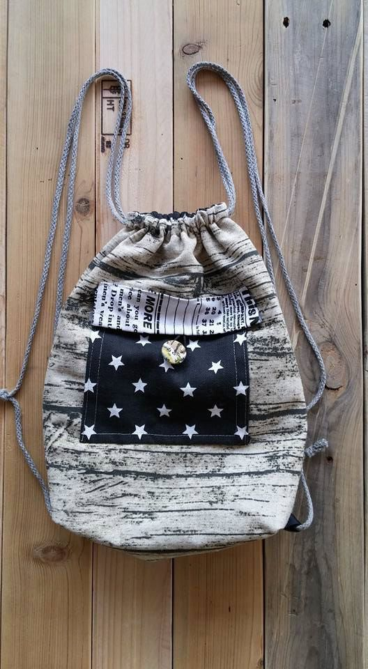 Woodblock,Backpack Canvas Cotton drawstring Hip bag Handmade bag Gift for her,Front pocket,Star,Black and white,
