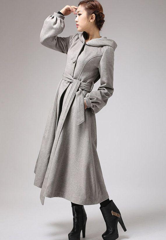 Gray wool coat with tie belt waist long winter coat708 by xiaolizi, $239.00