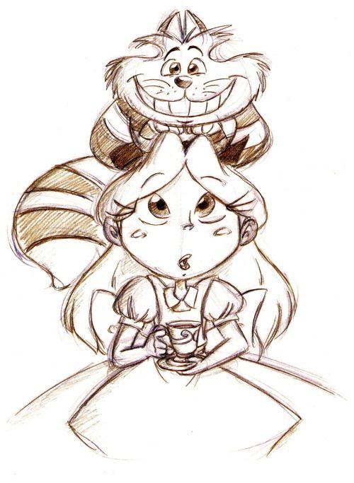 Алиса в стране чудес рисунки карандашом